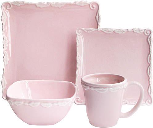 Bianca Wave Pink Embossed 16-Piece Stoneware Dinnerware Set