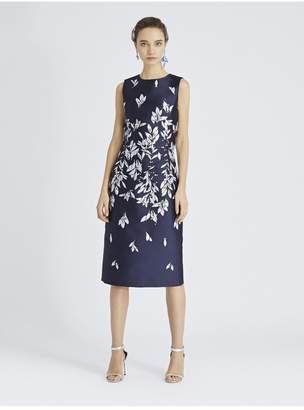 Oscar de la Renta Leaves And Berries Jacquard Pencil Dress