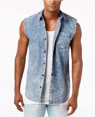 American Rag Men's Denim Sleeveless Shirt, Only at Macy's $35 thestylecure.com