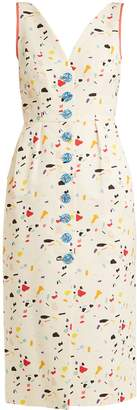 Carolina Herrera Terazzo-print V-neck cotton-blend faille dress