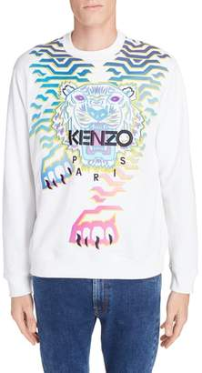 Kenzo Rainbow Geo Tiger Embroidered Crewneck Sweatshirt