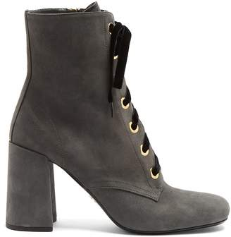 Prada Lace-up suede ankle boots