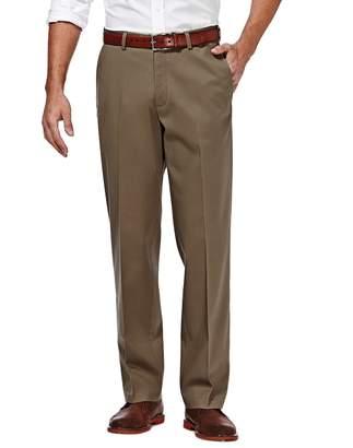 Haggar Men's Premium No Iron Khaki Stretch Straight-Fit Flat-Front Pants