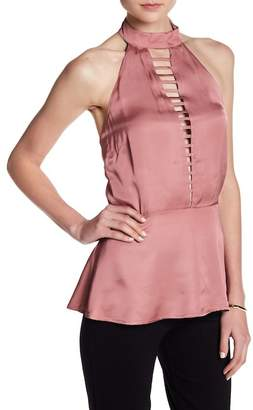 Willow & Clay Ladder Front Satin Halter Top