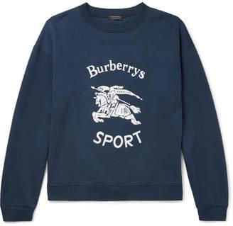Burberry Flocked Fleece-Back Cotton-Blend Jersey Sweatshirt