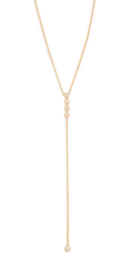14k Gold Diamond 5 Bezel Lariat Necklace