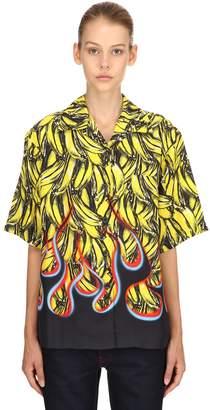 Prada Banana Flames Print Twill Shirt