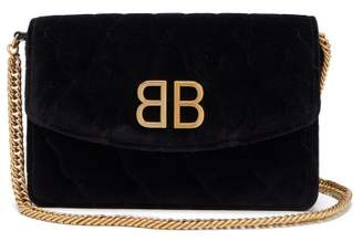 Balenciaga Bb Quilted Velvet Clutch - Womens - Black