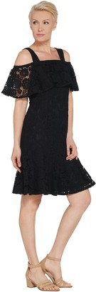 Isaac Mizrahi Live! Lace Ruffle Cold Shoulder Dress