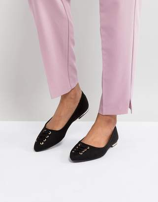 New Look Lace Up Front Detail Almond Toe Flat Shoe