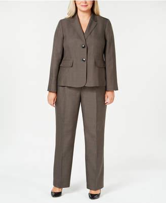 Le Suit Plus Size Two-Button Melange Pantsuit