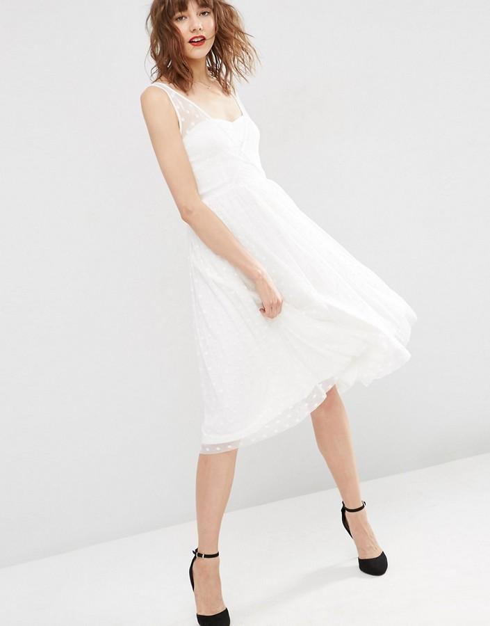 AsosASOS Dobby Mesh Wrap Midi Prom Dress