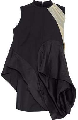 Rick Owens Asymmetric Shell-Paneled Mesh And Jersey-Trimmed Cotton-Poplin Mini Dress