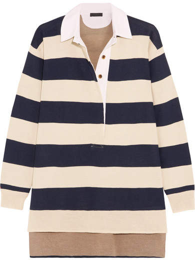 J.Crew - Garret Oversized Striped Merino Wool Polo Top - Navy