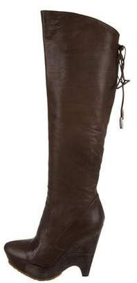 Pura Lopez Leather Platform Boots