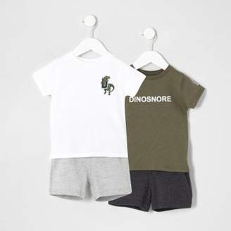 River Island Mini boys dinosaur print pajama set multipack
