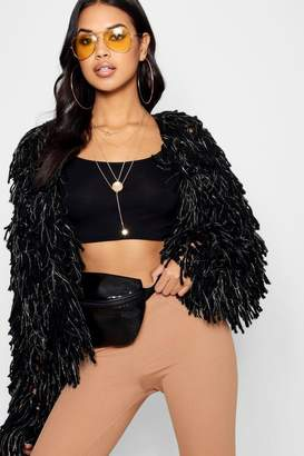 boohoo Beatrice Metallic Shaggy Knit Cardigan
