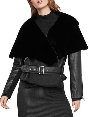 BCBGMAXAZRIA Jade Leather & Faux Fur Wrap Jacket