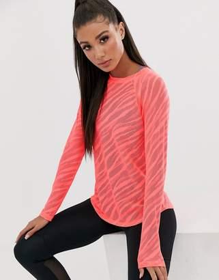 Asos 4505 4505 long sleeve top in sheer zebra in loose fit
