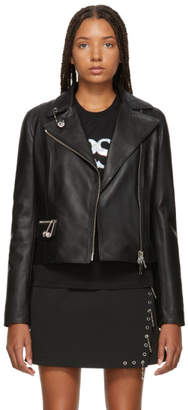 Versus Black Safety Pin Leather Jacket