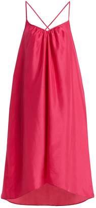 LOUP CHARMANT Cross-back silk-satin slip dress