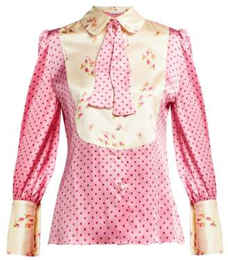 Edeltrud Hofmann - Jolly Polka Dot And Floral Print Silk Blouse - Womens - Pink Multi