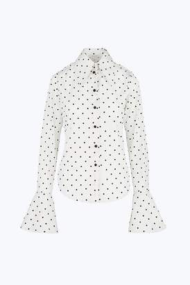 Marc Jacobs Flocked Polka-Dot Shirt in Italian Silk