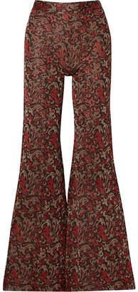 Chloé Metallic Jacquard-knit Flared Pants - Dark brown