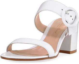 Gianvito Rossi Leather Two-Strap Buckle Slide Sandal