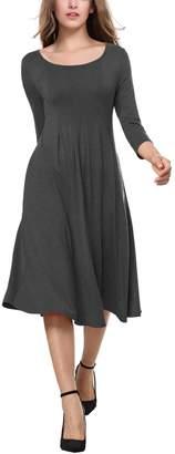 BAISHENGGT Women's 3/4 Sleeves Pleated Front Pockets Flared Midi Dress Dark Grey