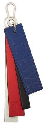 Loewe London Logo Debossed Tri Colour Leather Key Ring - Womens - Red Multi