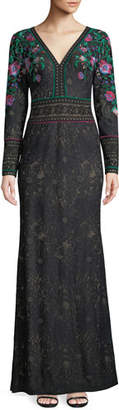Tadashi Shoji Floral Embroidered Lace Long-Sleeve Gown