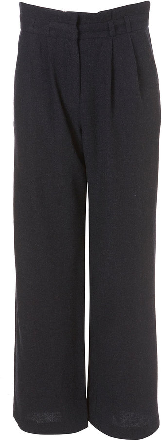 High Waisted Wide Leg Wool Mix Trousers