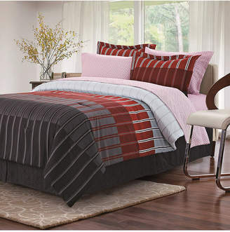 Brown & Grey Ombre Stripe Queen Bed Set, Red Bedding