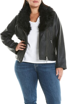 Estelle Evie Water Resistant Faux Leather Moto Jacket with Removable Faux Fur Collar