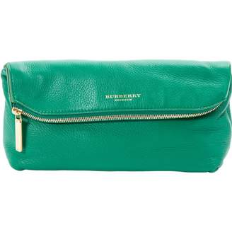 Burberry Green Leather Clutch Bag