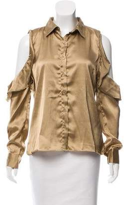 2dc5c5b129068a Walter Baker Satin Cold-Shoulder Top w  Tags