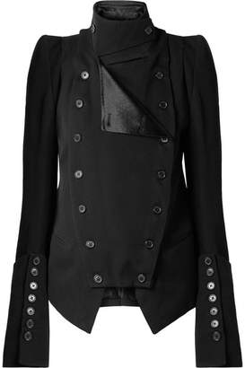Ann Demeulemeester Convertible Wool And Cotton-blend Blazer - Black