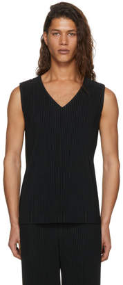 Issey Miyake Homme Plisse Black Pleated V-Neck Tank Top