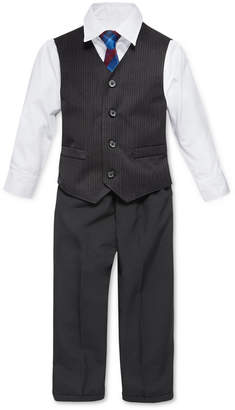 Nautica (ノーティカ) - Nautica Little Boys' 4-Piece Tie, White Shirt, Pinstripe Vest, Black Pant Vest Set, Toddler Boys