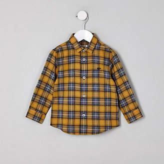 River Island Mini boys yellow check button-up shirt