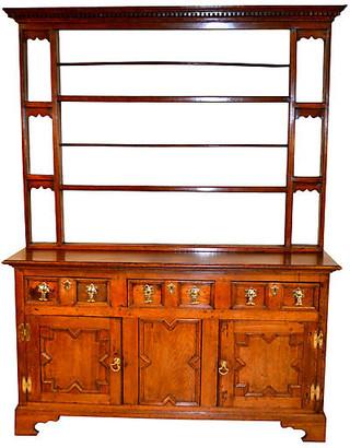One Kings Lane Vintage 18th-C. English Oak Pewter Cupboard - Black Sheep Antiques