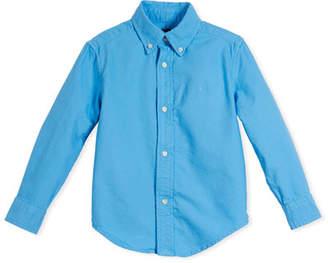 Ralph Lauren Garment-Dye Oxford Button-Down Shirt, Blue, Size 2-4