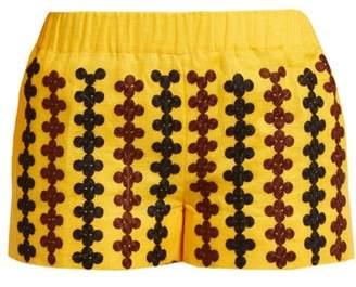 Vita Kin - Riverbank Embroidered Lightweight Linen Shorts - Womens - Yellow Multi