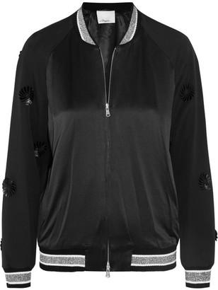 3.1 Phillip Lim - Appliquéd Wool And Silk-satin Bomber Jacket - Black $995 thestylecure.com