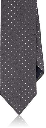 Barneys New York MEN'S DOTTED HERRINGBONE SILK-COTTON NECKTIE