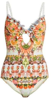Camilla Frill Tab Tie Swimsuit - Womens - Orange Multi