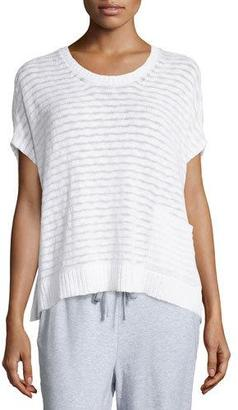 Eileen Fisher Short-Sleeve Boucle Striped Box Top $248 thestylecure.com
