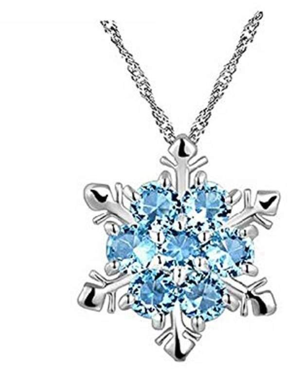 XY Fancy Elegant Silvering Jewelry Blue Rhinestone Pendant Necklace for Women