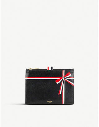 Thom Browne Bow-motif leather coin purse